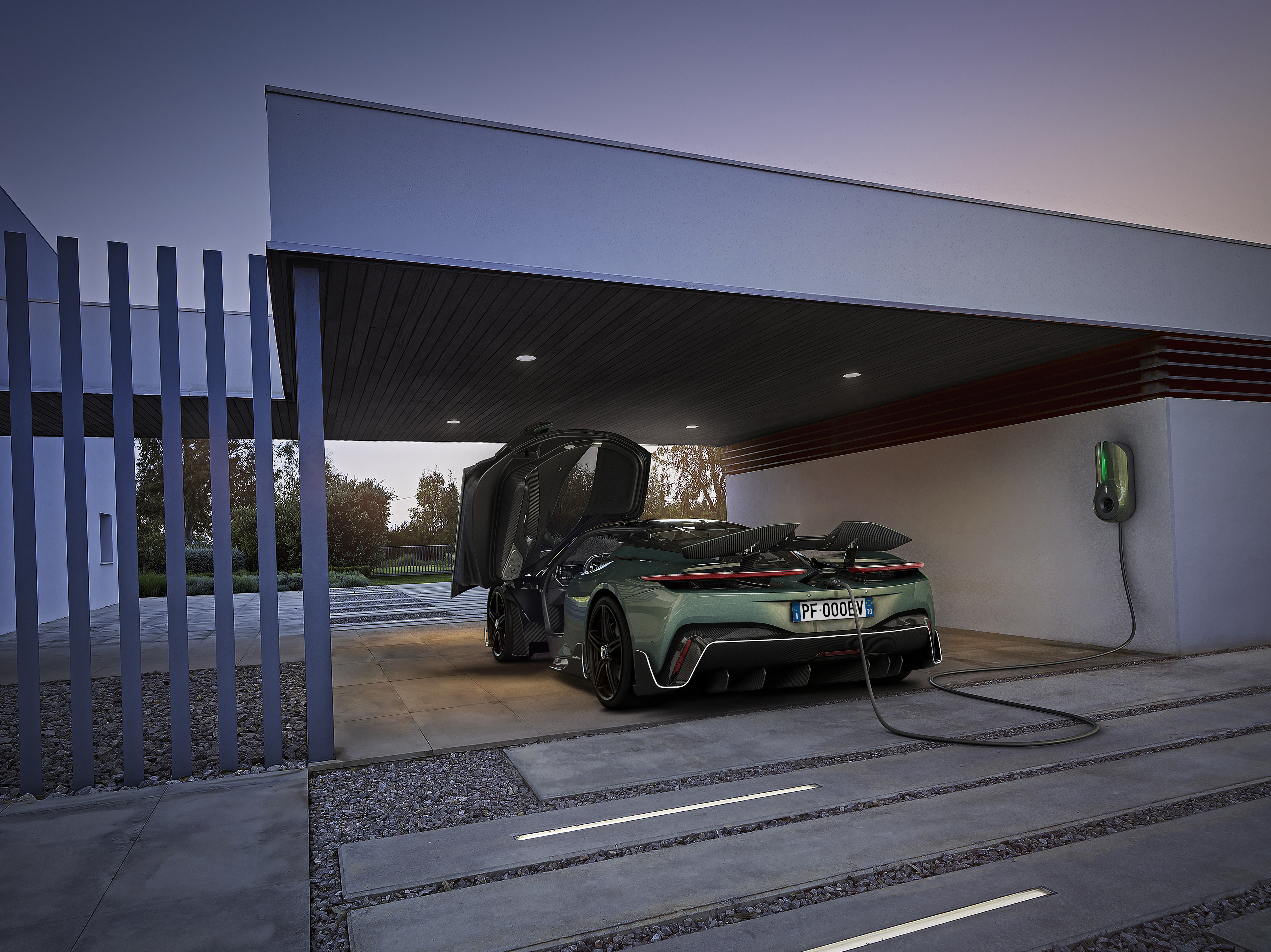 Green Motion RESIDENZA wallbox charging the new Automobili Pininfarina Battista