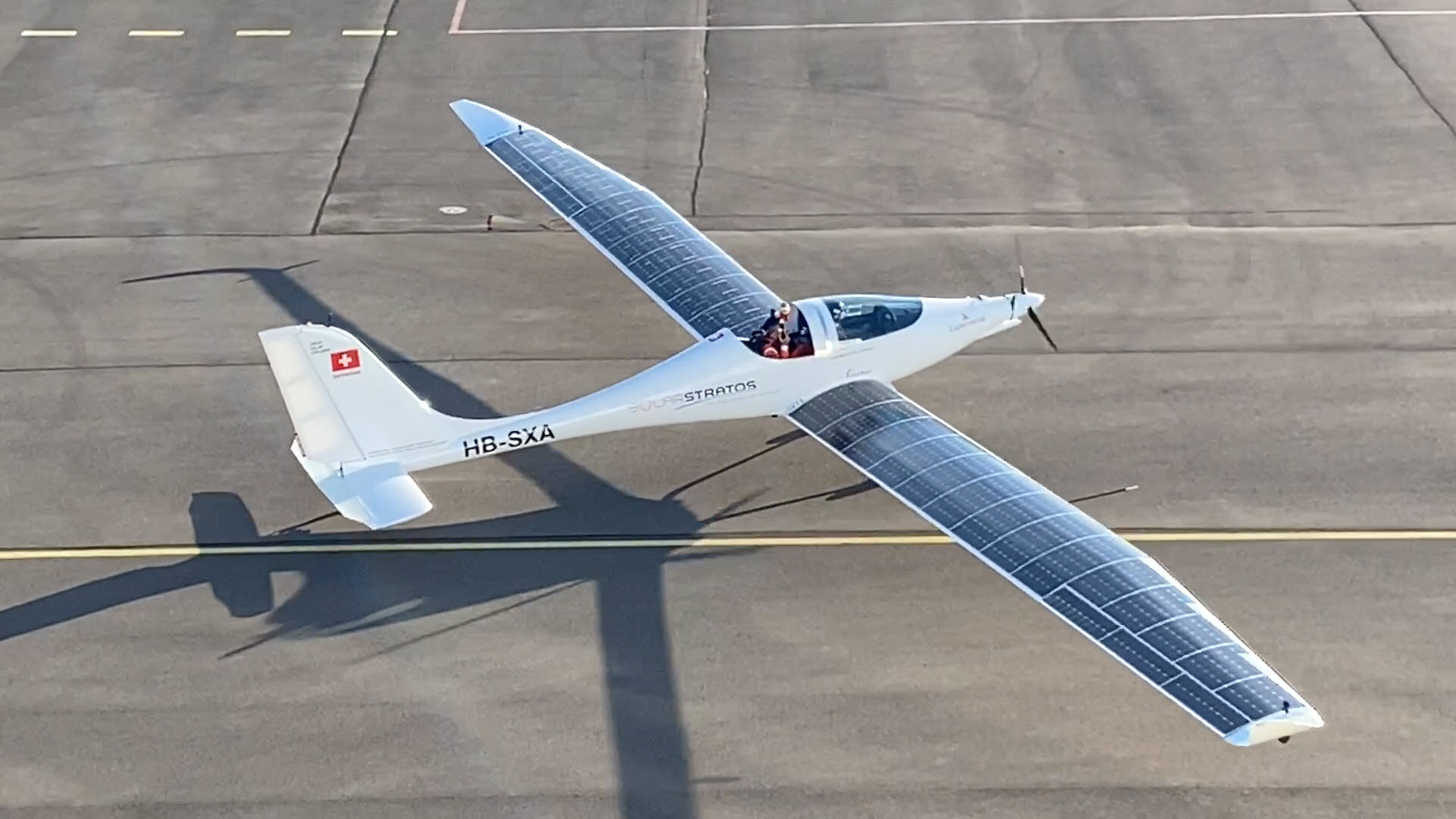 Solarstratos plane on the runway
