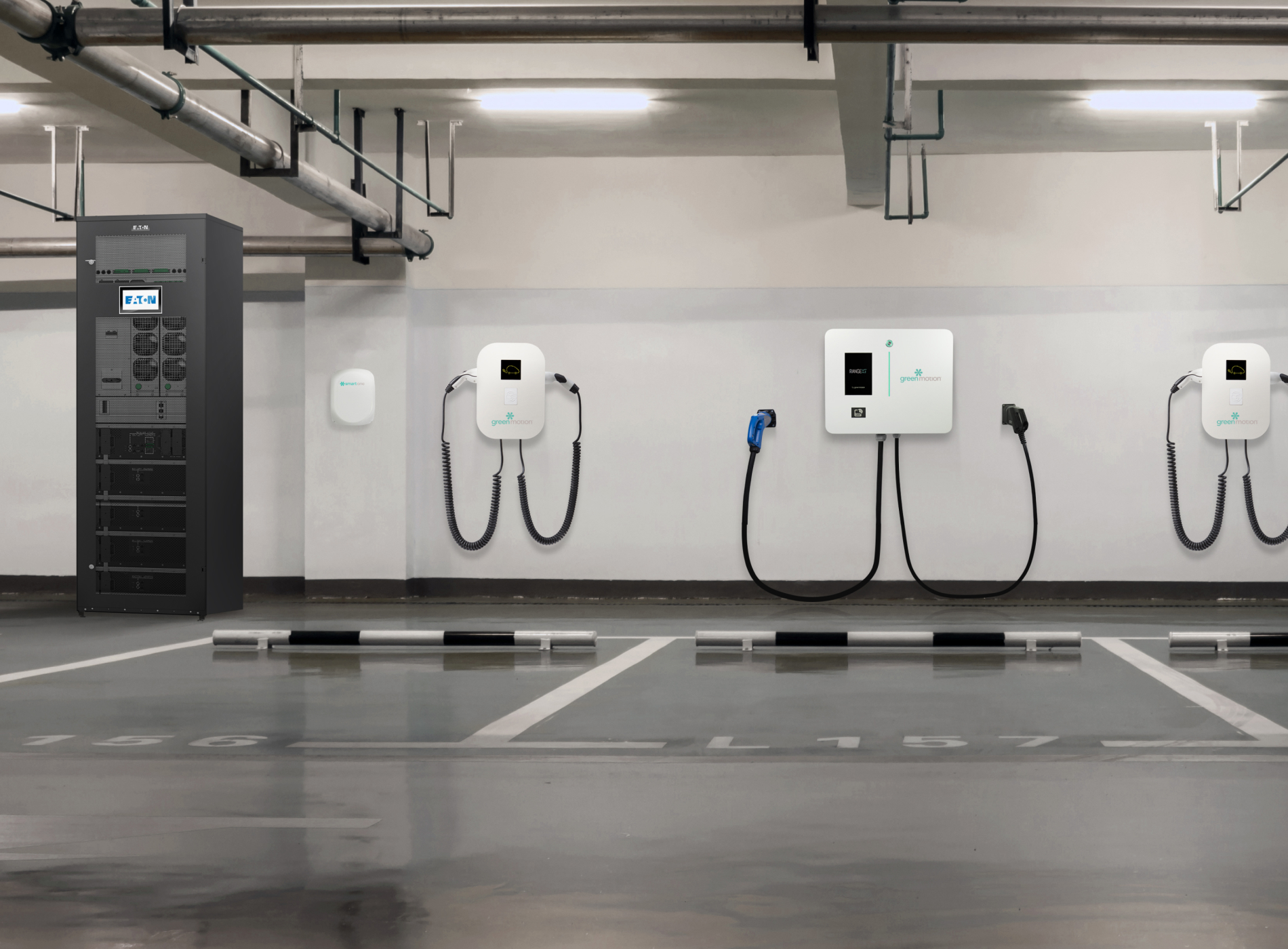 Underground parking with Green Motion's charging stations