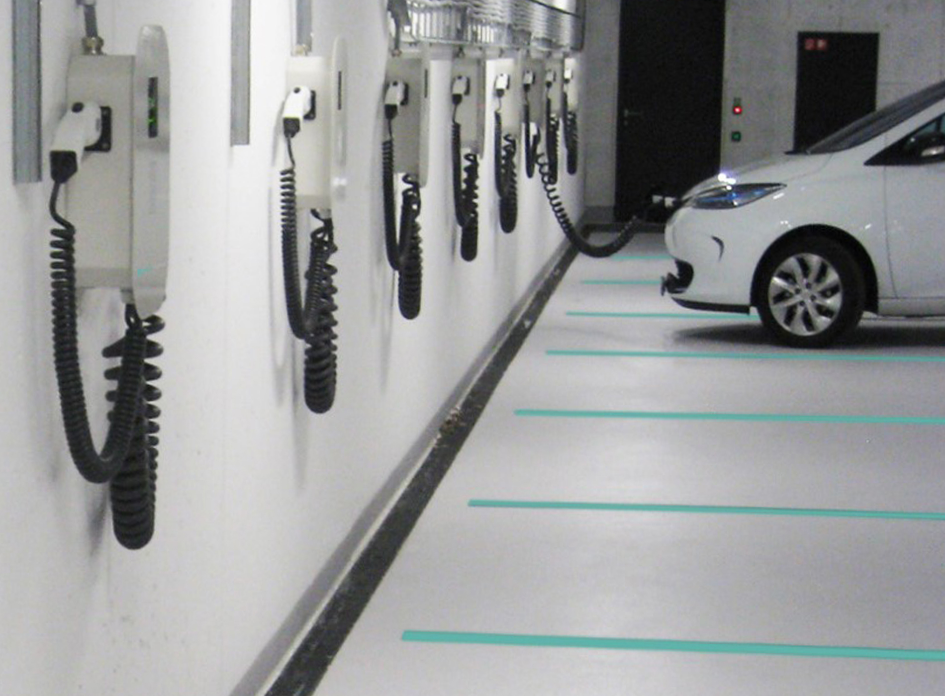 Employee underground parking with Green Motion charging stations