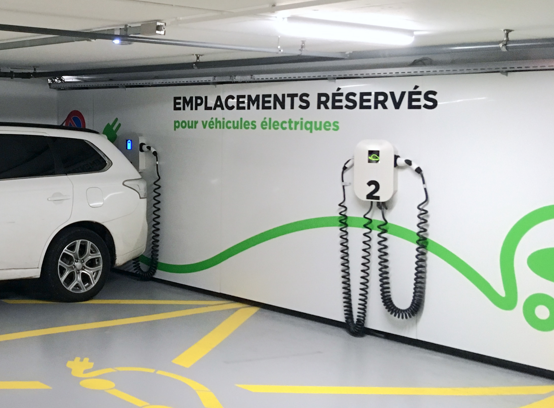 Underground parking with an electric vehicle charging