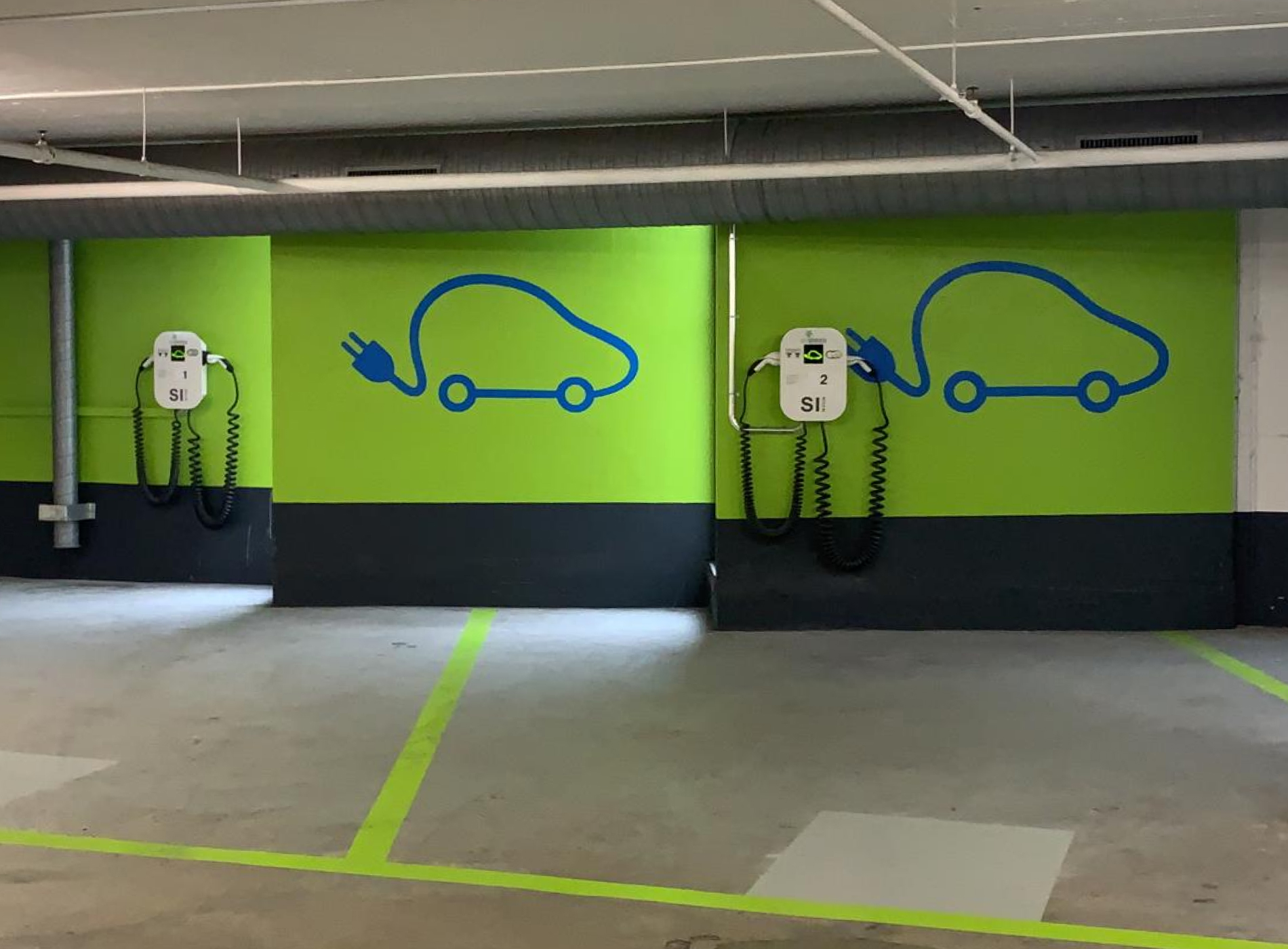 Underground township parking with Green Motion's charging stations